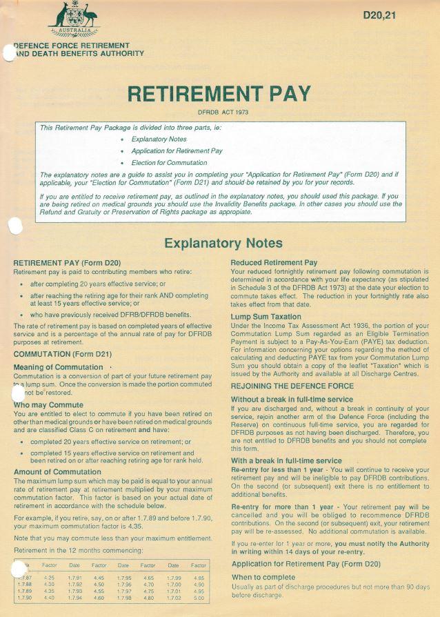 DFRDB Retirement Pay Form D20,21 p1